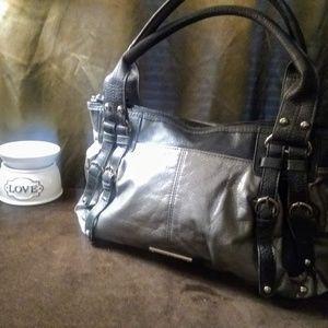 Silver & Gray XOXO shoulder purse